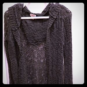 Lace knitted open cardigan